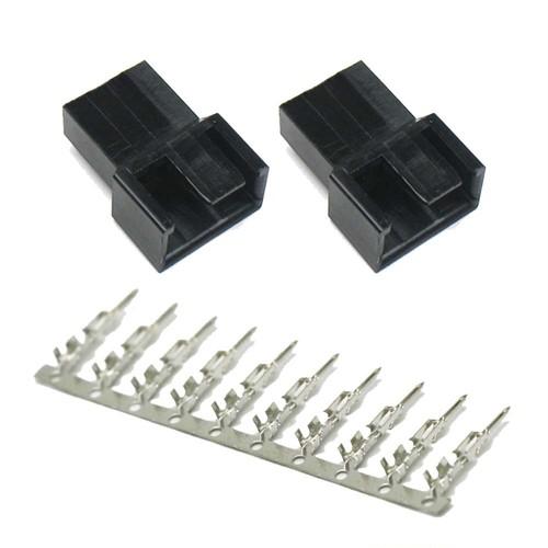 FANコネクタ 4Pin オス ハウジングx2 圧着ピン10pin セット (3Pinコネクタ対応版)