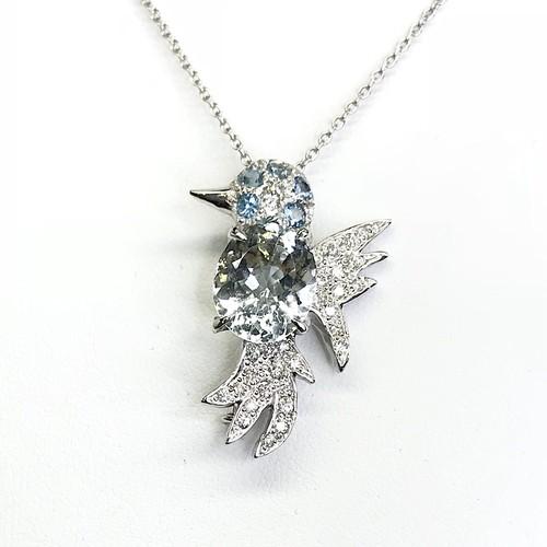 バードモチーフネックレス K18WG×アクアマリン×ダイヤモンド