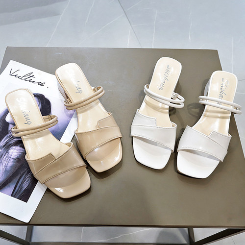 2WAY ストラップ サンダル チャンキーヒール 4cm スクエアトゥ 韓国ファッション レディース 痛くない かわいい 靴 歩きやすい