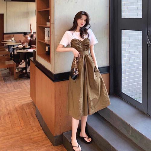 【dress】絶対流行ファッション切り替えチュニックデートワンピースゆったり2色