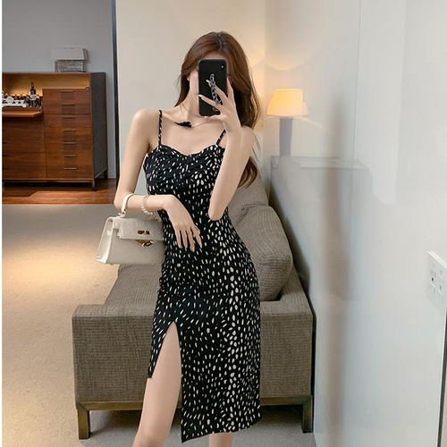 【dress】美人度アップファッションセクシースリット 高級感キャミワンピース