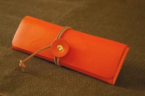 一枚革の巻き紐ペンケース(革色:オレンジ)【受注生産】【送料込み】