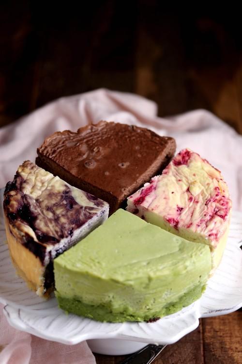 低糖質チーズケーキ・お試しセット・15cm・「レモンクランベリー、抹茶、モカ、ブルーベリー」