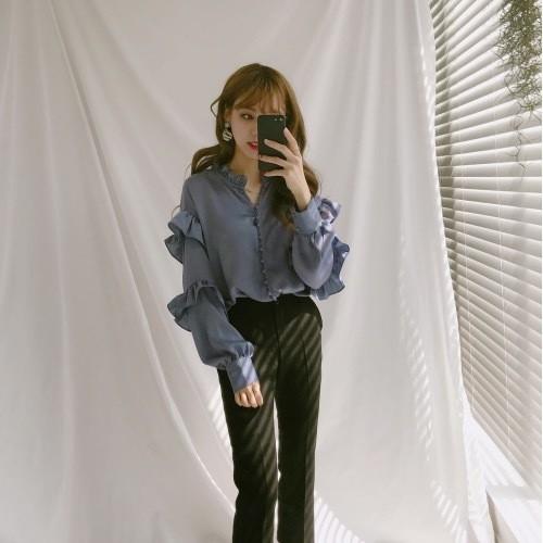 frill sleeve feminine blouse 3135
