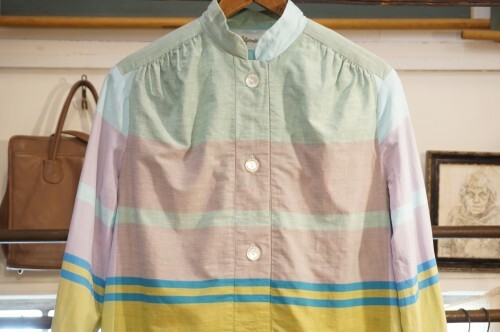 60's pastel colored stripe cotton shift Dress