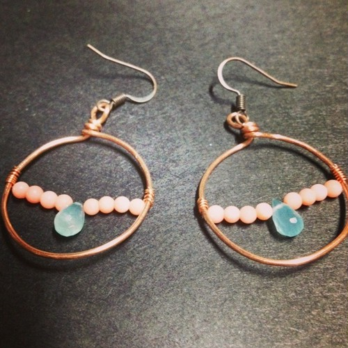 COPPERwire × pink coral ピアス