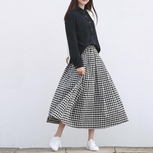 ギンガムチェックロングスカート C0113