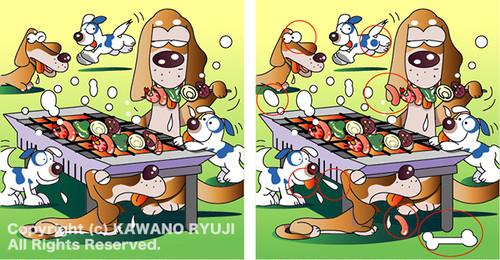 間違い探しイラスト_バーベキューを楽しむ犬_aiデータ(ベクターデータ)