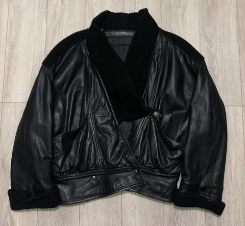 1980S LEATHER X KNIT HYBRID JACKET
