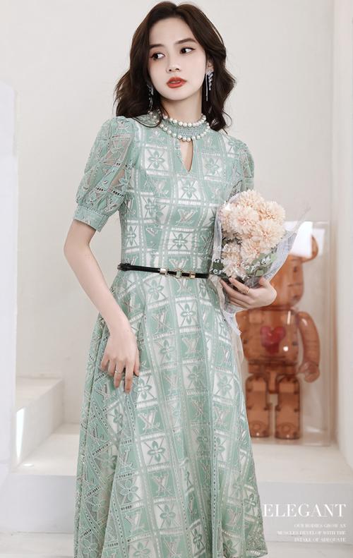 グリーン ミディ丈 メッシュ ドレス パーティードレス 結婚式 TM0199