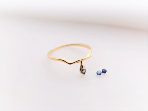 Serpente K10YG gold ring*ブルーサファイア*9月誕生石(素材変更可能)