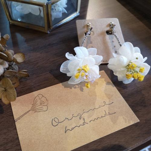 ステンレスピアス/一輪の花。遊び心いっぱいなイエローピアス/イヤリング