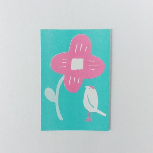 ポストカード 花と小鳥 ペパーミント