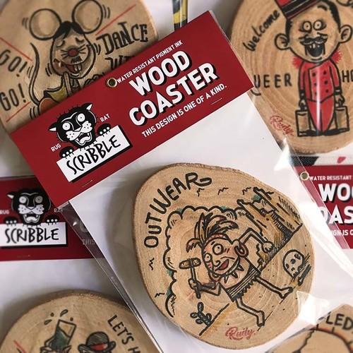 Scribble Wood Coaster