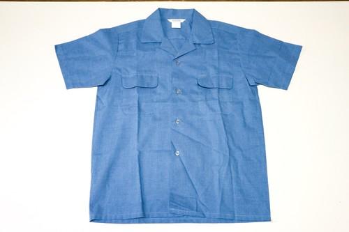 USED OPEN COLLOR SHIRT 古着 オープンカラーシャツ ブルー 通販