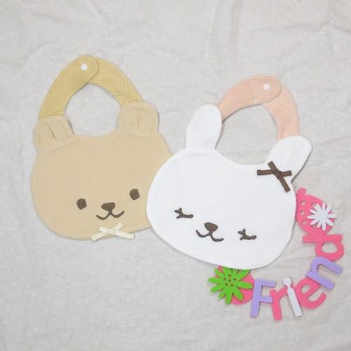 ウサギ&クマ スタイ 双子ベビー服2枚セット 出産祝い最適ギフト オールツインズ <20ss-mt008k-3>