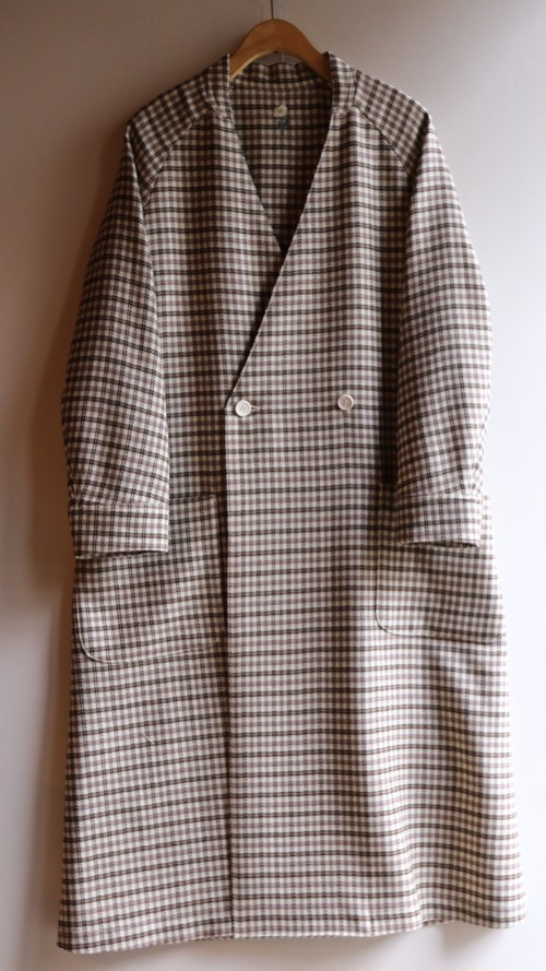 ASEEDONCLOUD/アシードンクラウド Collarless Coat/カラーレス・コート Mogamibana Check/モガミバナチェック #192107
