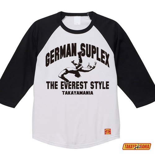 TAKAYAMANIA GERMAN ラグラン3/4スリーブTシャツ ホワイトxブラック/ TM-GE2010