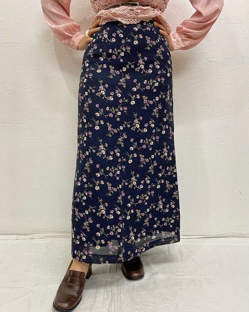 (PAL) flower pattern long skirt