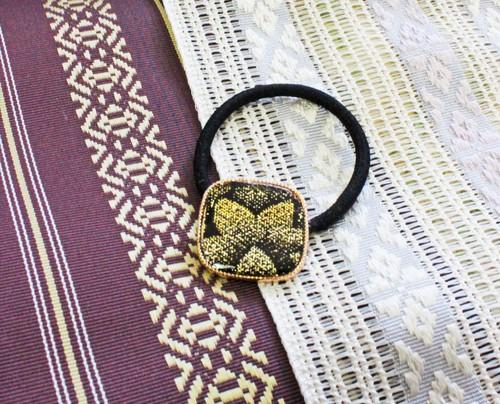 博多織ヘアゴム スクエア ゴールド ブラック 植物柄(HG-07)和柄 浴衣 着物 和風 和装