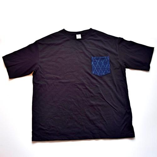 BIGシルエット ビンテージ 藍染 剣道着 リメイク ポケットTシャツ M-XL BLK