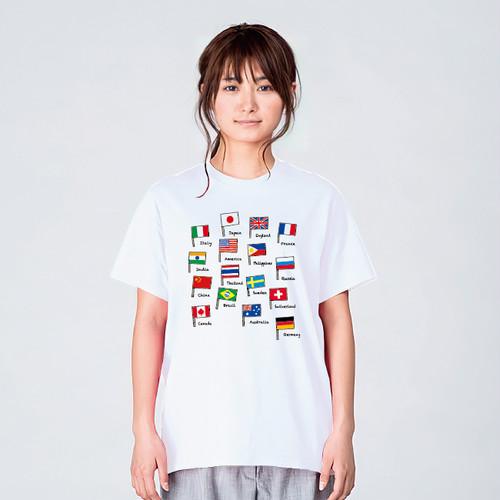 国旗 一覧 イラスト Tシャツ メンズ レディース 半袖 ゆったり おしゃれ トップス 白 30代 40代 プレゼント 大きいサイズ 綿100% 160 S M L XL