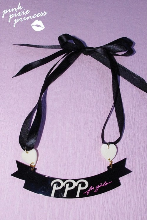●PPP● Ribbon Ribbon Necklace / black × ivory