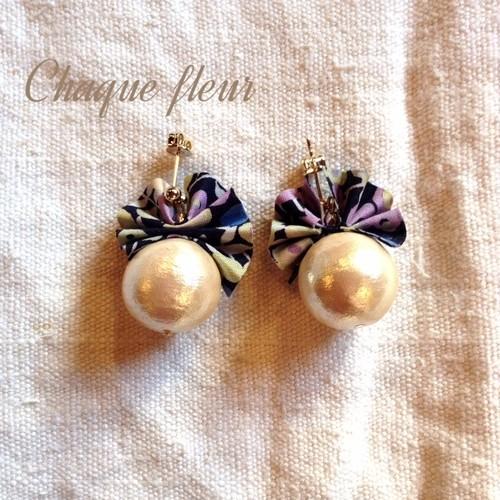 Chinon handmade accessory フランスリバティリボンとコットンパールのピアス