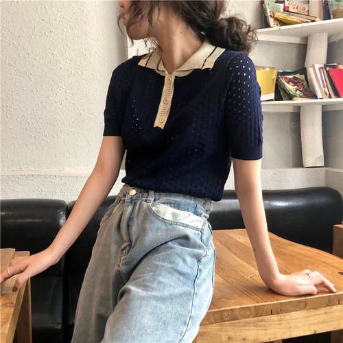 【トップス】LAST SUMMERファッション折り襟透かし彫り配色ショート半袖Tシャツ