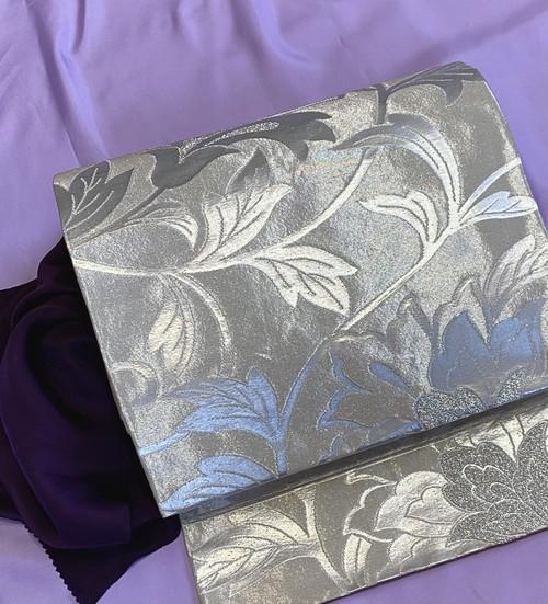 〈銀糸の袋帯〉大正ロマン 織り出しの帯 SALE 送料無料