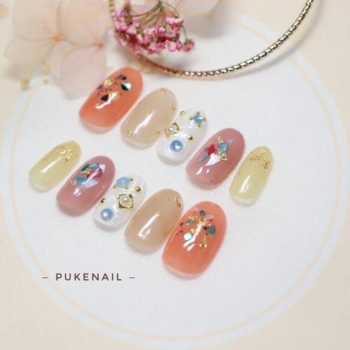 Pukeネイル[No.283]押し花・可愛い色組み合わせ・ジェイルネイルチップ
