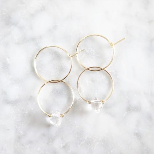 14kgf*Herkimerdiamond W rings pierced earring / earring