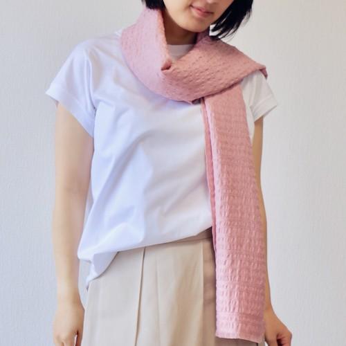 【冷房対策にもぴったり】サーモンピンクのフィルタンゴストール  西洋更紗柄 京都、丹後の絹織物 シルクストール