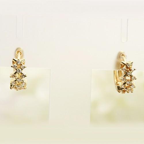 フープ型ダイヤモンドデザインピアス K18
