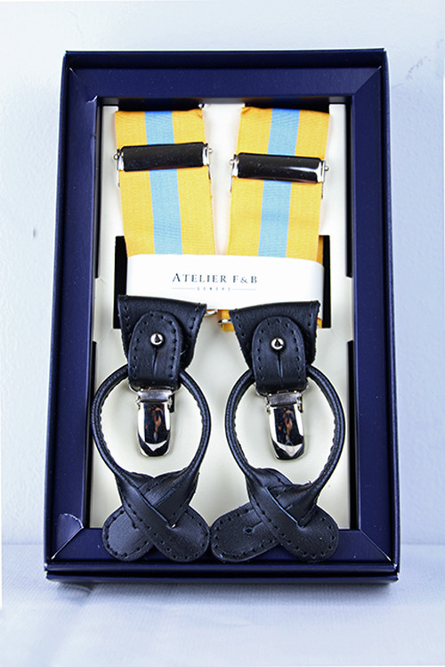 AtelierF&B Stripe Suspender -Yellow/Skyblue アトリエF&B サスペンダー
