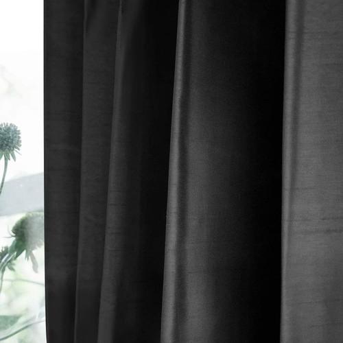 シャイニー/ブラック 完全遮光 1級遮光 遮熱・断熱 防音 形状記憶加工 ウォッシャブル カーテン 2枚入 / Aフック サイズ(幅×丈):100×135cm kso-032-100-135