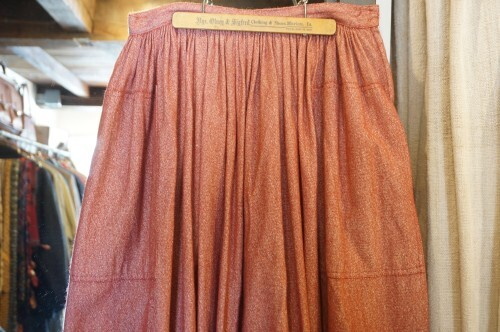 70's silk wool gathered Skirt