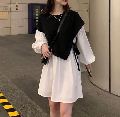 ベスト付き ミニ丈ワンピース チュニック サイドリボン レディース ファッション 韓国 オルチャン