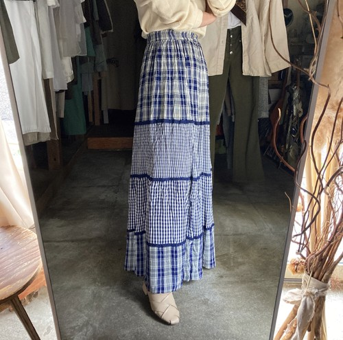 crazy pattern check skirt