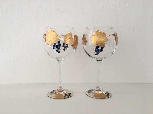 【金青葡萄】ワイングラス1個単位の販売※色違いあり|両親贈呈品・両親プレゼント・親ギフト・乾杯記念日グラス・結婚祝い