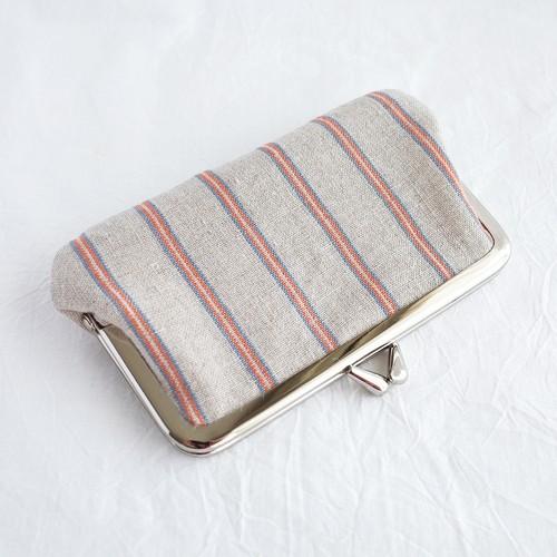小粋なリネン縦縞 がま口カードケース