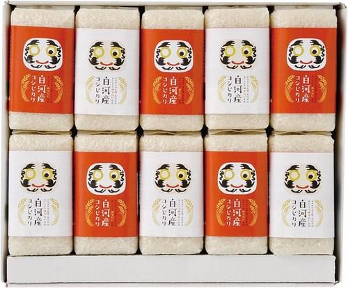 白河産コシヒカリギフトセット300g(2合)×10個入り