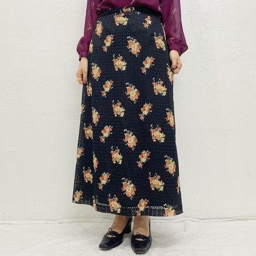 (LOOK) flower print long skirt