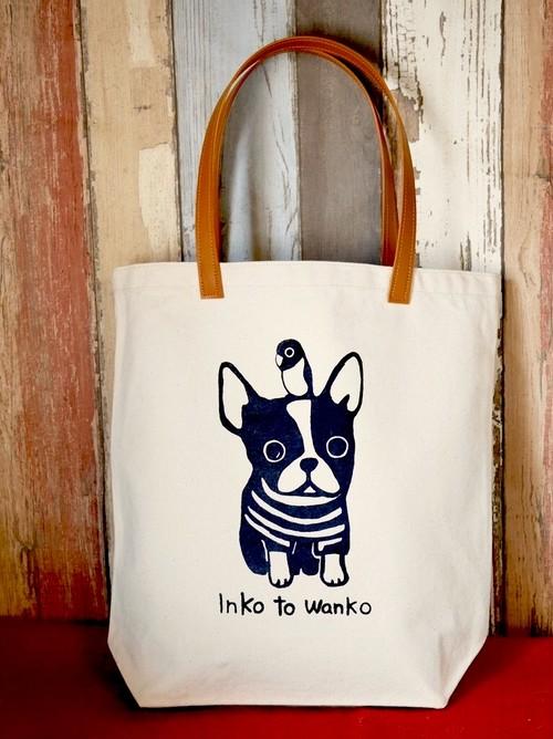 インコとワンコのシンプルトートバッグ