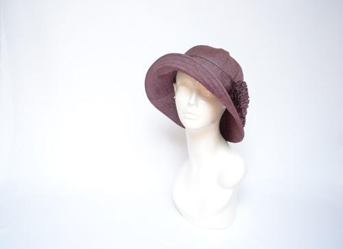 ●着物地ハット:紫の縞の紬・着物リメイク・着物地帽子・2日営業日以内発送・国内送料無料 2004h06