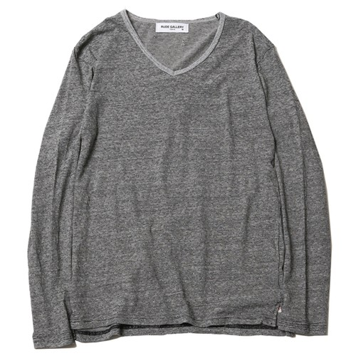 V-NECK L/S - BODY GARD COLLABORATION (BLACK/OFF-WHT) / RUDE GALLERY