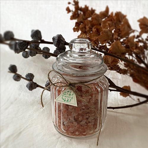 【Last2個!!】Original Aroma Bath Salt MORI:ヒマラヤ岩塩ローズソルト(ガラスジャー入り)
