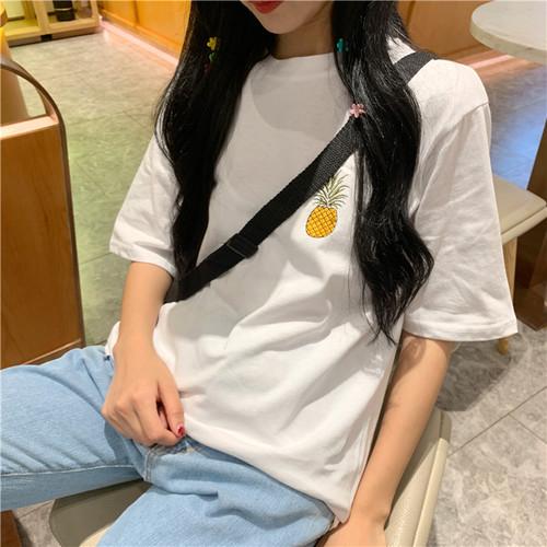 【トップス】カジュアルファッションフルーツ刺繍やわらかな素材半袖Tシャツ