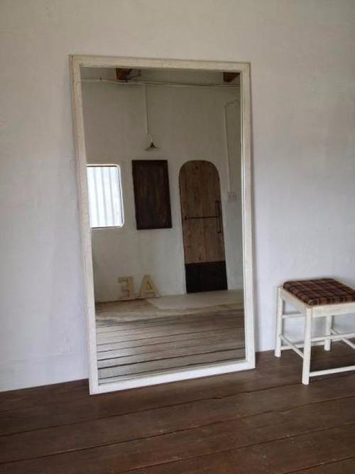 数量限定 TM-18-6 鏡厚6mm 白い木の剥げた風合いある大きな鏡 全身 鏡 ミラー 店舗 美容室 サイズオーダー可能