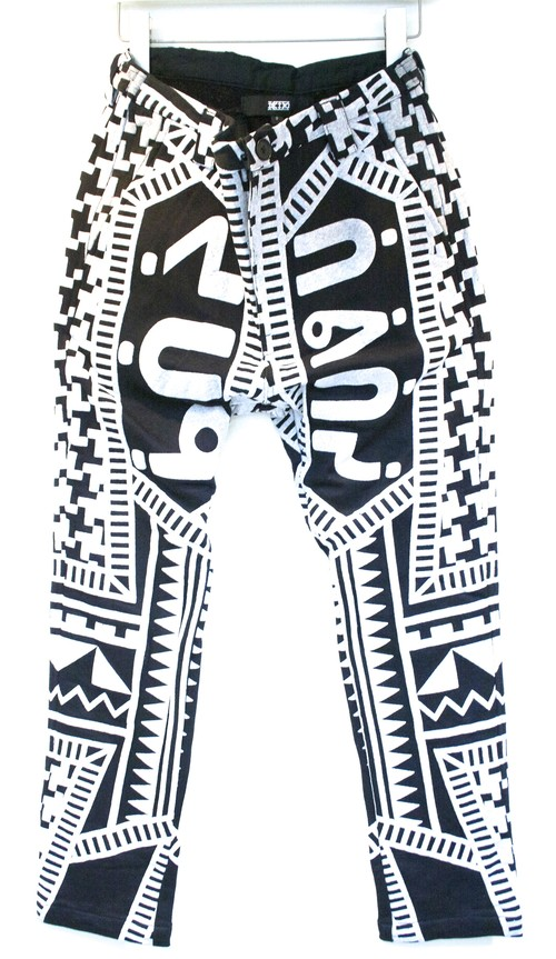 KTZ DOG TOOTH PUFF PRINT TROUSERS ドッグ トゥース パフ プリント トラウザー / BLACK 30%OFF